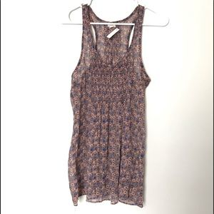 Aerie sheer floral tan top size S
